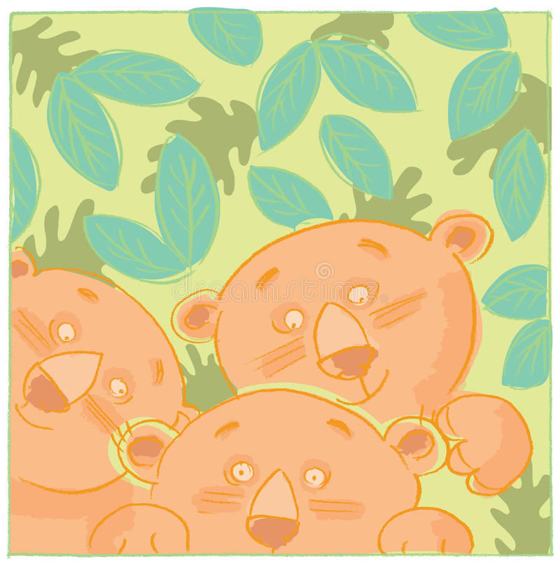 Lion cubs in the jungle. Illustration of three lion cubs playing together royalty free illustration