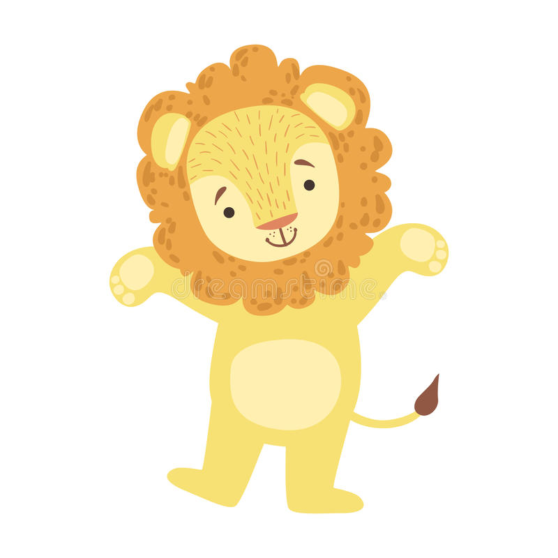 Lion Cute Toy Animal With Detailed Elements Part Of Fauna Collection Of Childish Vector Stickers vector illustration