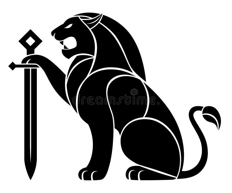 Lion décoratif avec l'épée illustration de vecteur