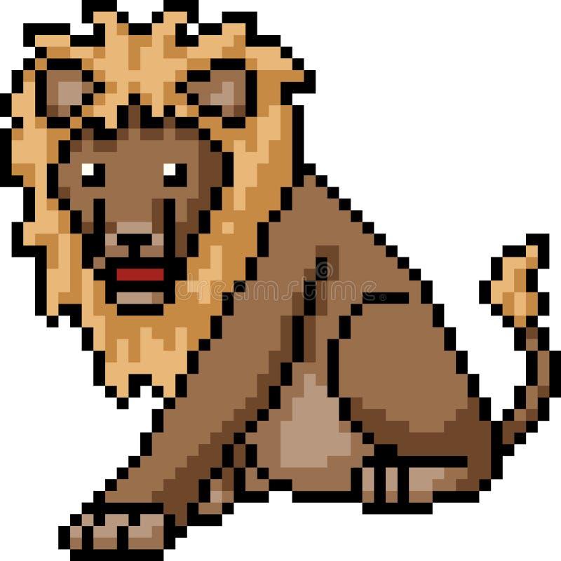 Lion d'art de pixel de vecteur illustration de vecteur