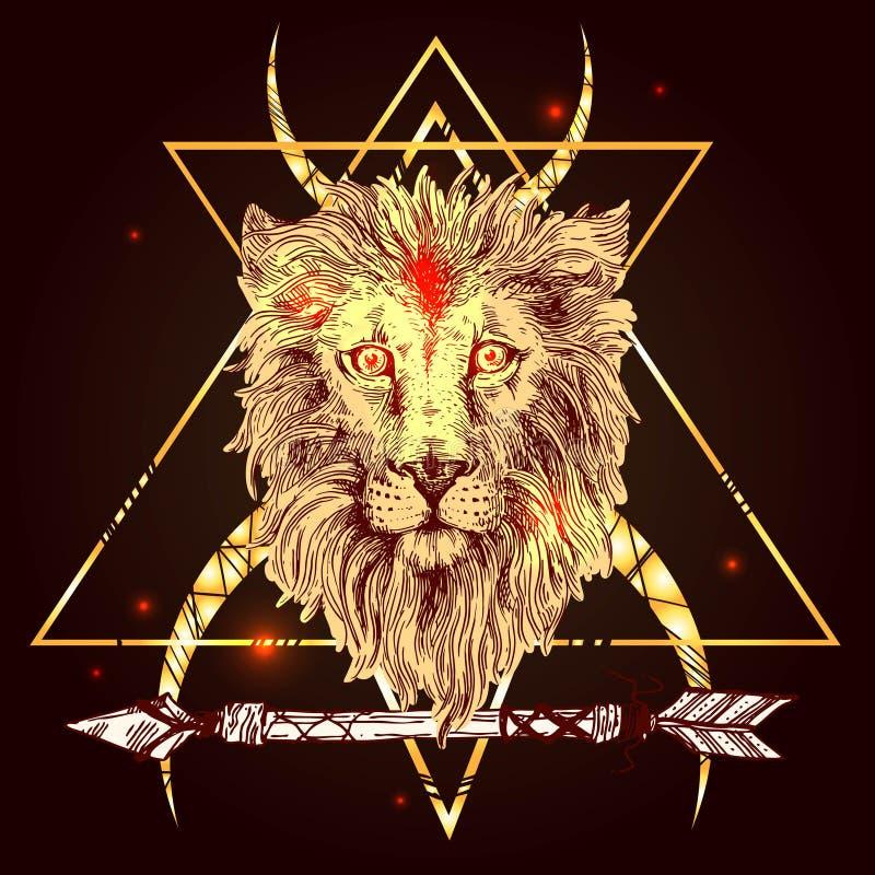 Lion d'illustration de croquis illustration de vecteur