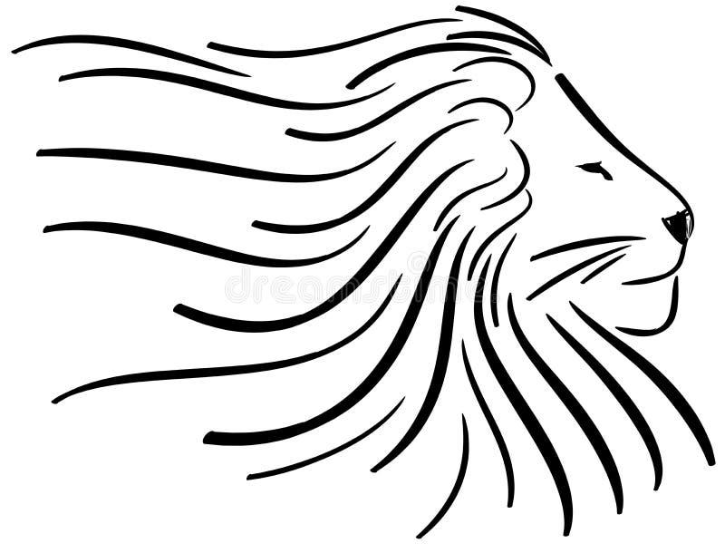 Lion d'isolement stylisé dans le noir illustration libre de droits