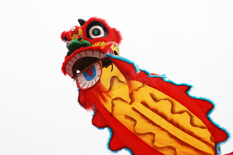 Lion dance costume. Colorful lion dance costume and mask, a popular folk sport and game in Canto,South China stock photography