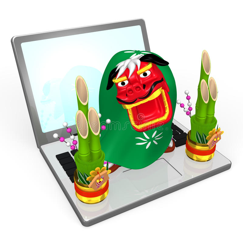 Lion Dance On Lap Top stock abbildung
