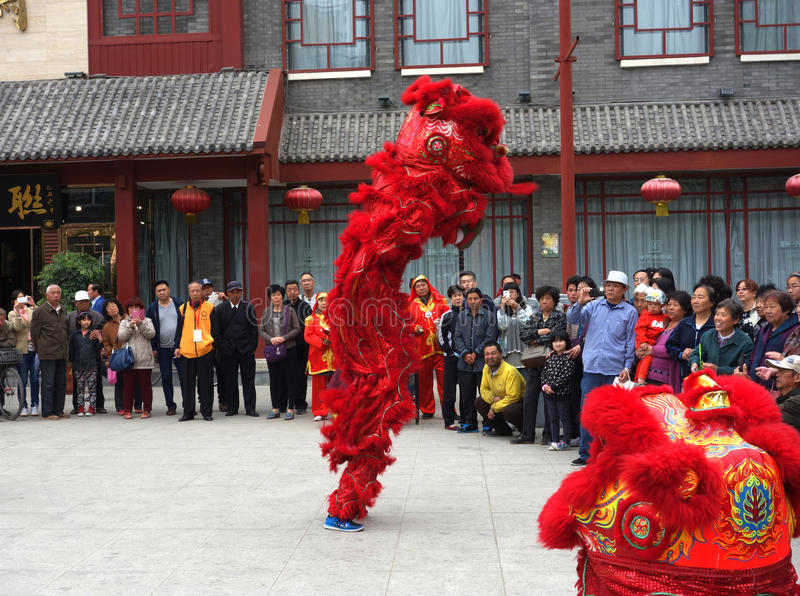 Lion dance performance. Traditional China lion dance performance Tianjin culture street China royalty free stock photography