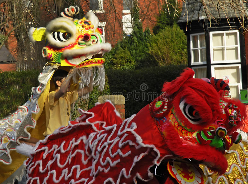 Lion Dancing Chinese New Year Celebrations in Blackburn England. Lion dance is a form of traditional dance in Chinese culture and other Asian countries in which stock photo
