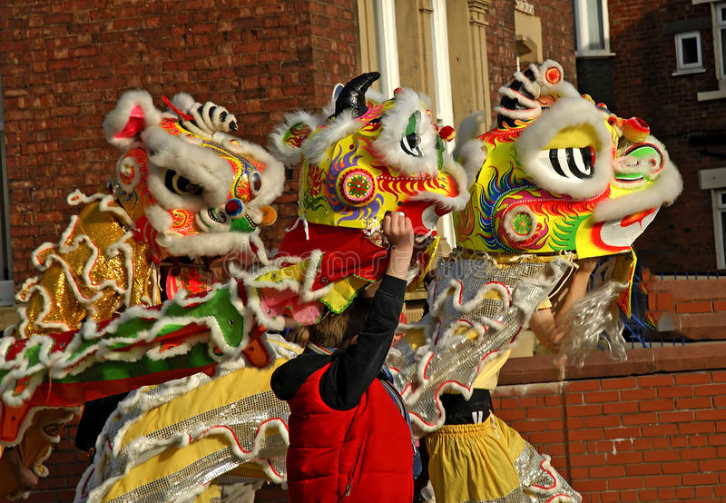 Lion Dancing Chinese New Year Celebrations in Blackburn England. Lion dance is a form of traditional dance in Chinese culture and other Asian countries in which royalty free stock photo
