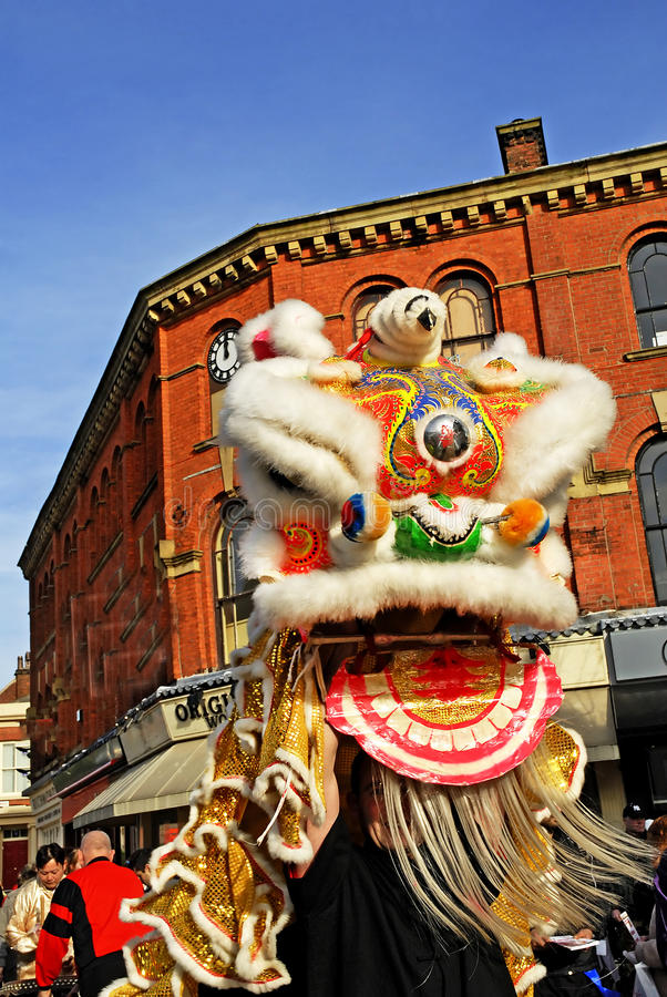 Lion Dancing Chinese New Year Celebrations in Blackburn England. Lion dance is a form of traditional dance in Chinese culture and other Asian countries in which royalty free stock image