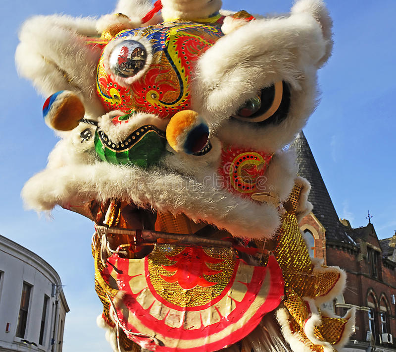 Lion Dancing Chinese New Year Celebrations in Blackburn England. Lion dance is a form of traditional dance in Chinese culture and other Asian countries in which stock photos