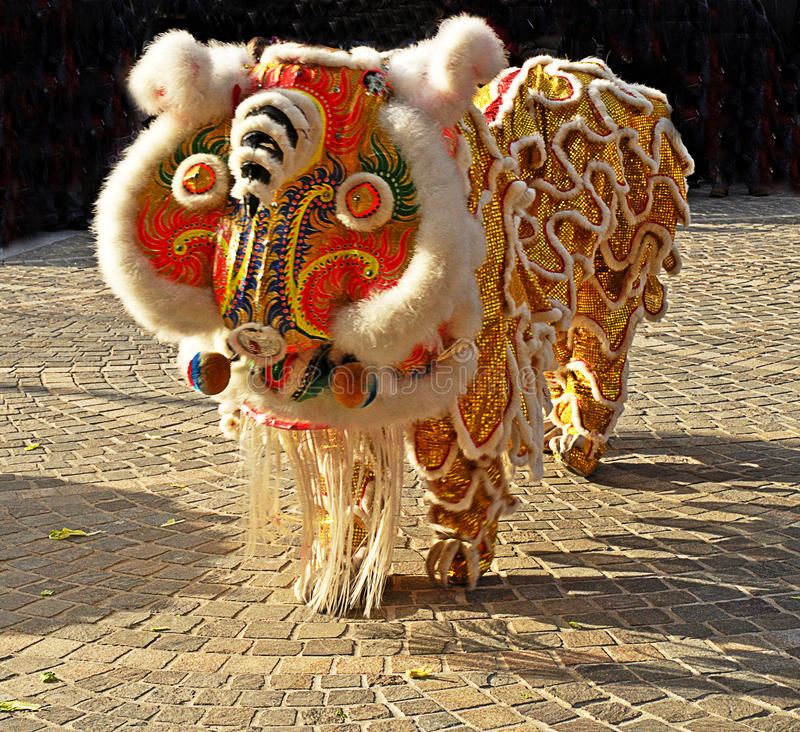 Lion Dancing Chinese New Year Celebrations in Blackburn England. Lion dance is a form of traditional dance in Chinese culture and other Asian countries in which stock image