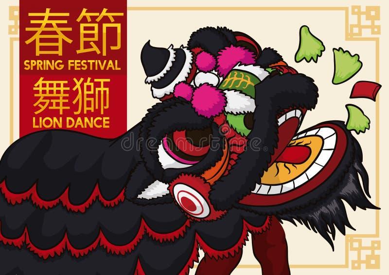 Lion Dancing et laitue noirs de consommation pendant la nouvelle année chinoise, illustration de vecteur illustration stock