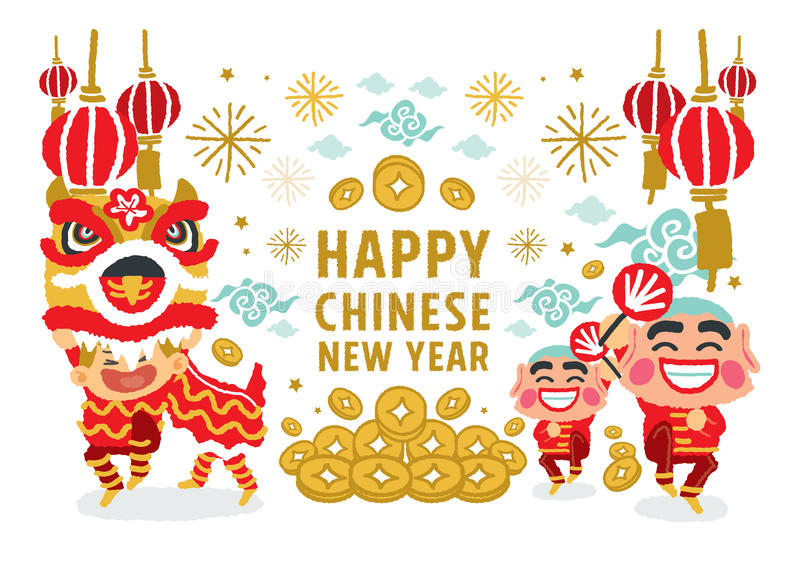 Lion Dancing-Vektorkonzept des Chinesischen Neujahrsfests lizenzfreie abbildung
