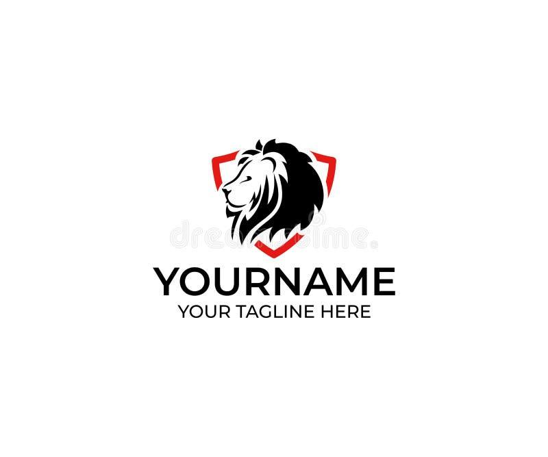 Lion dans le bouclier Logo Template Conception animale de vecteur illustration de vecteur