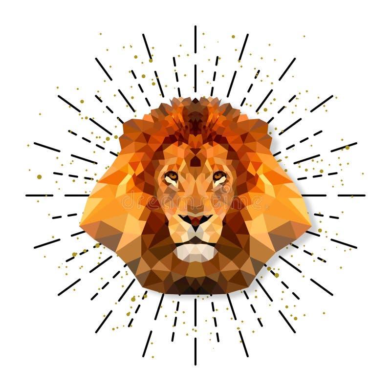Lion dans le style de triangle avec l'éclat, vecteur illustration stock