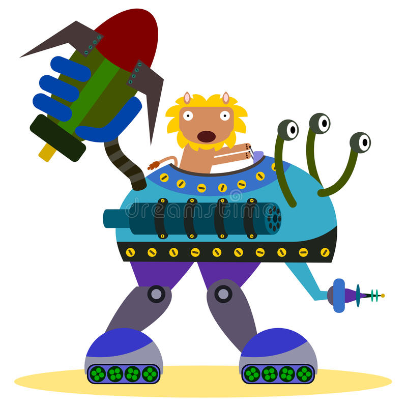 Lion dans un robot de bataille illustration libre de droits