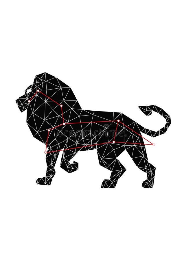 Lion de constellation et ligne rouge ?toiles dans le style polygonal illustration libre de droits