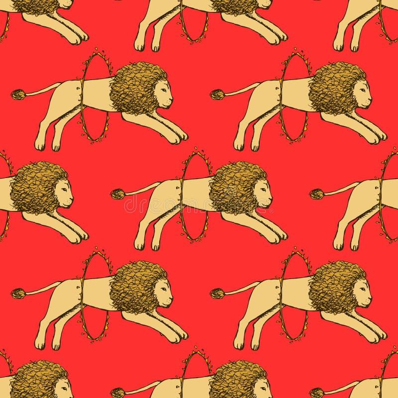 Lion de croquis sautant par le cercle du feu illustration stock