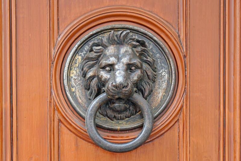 Lion de heurtoir de porte images libres de droits