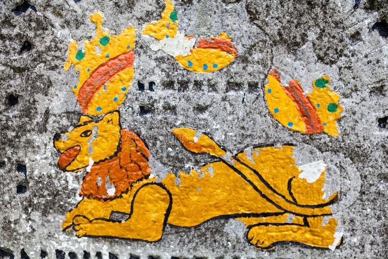 Lion de Judah sur la vieille pierre tombale photographie stock