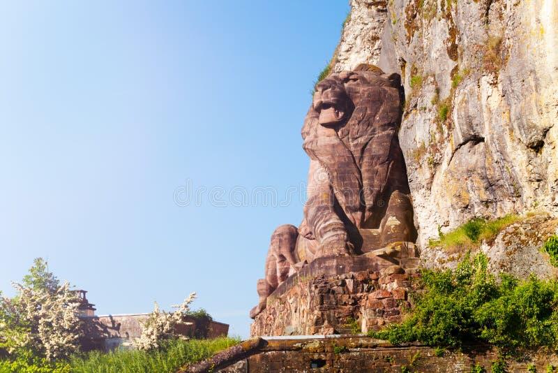 Lion de monument historique de Belfort en France images stock