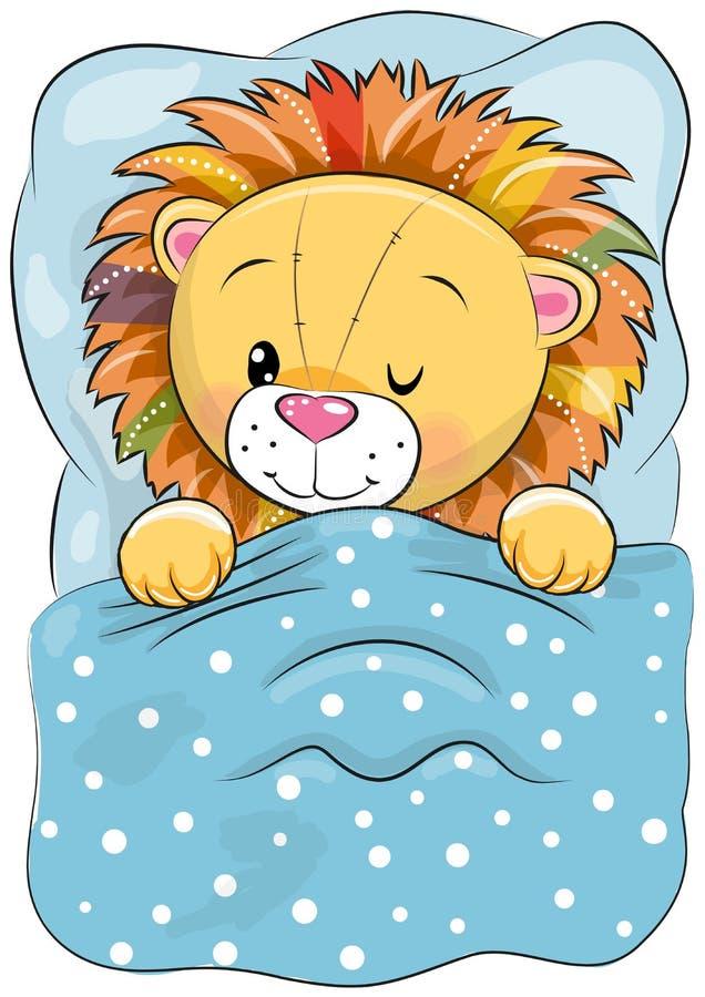 Lion de sommeil de bande dessinée dans un lit illustration de vecteur