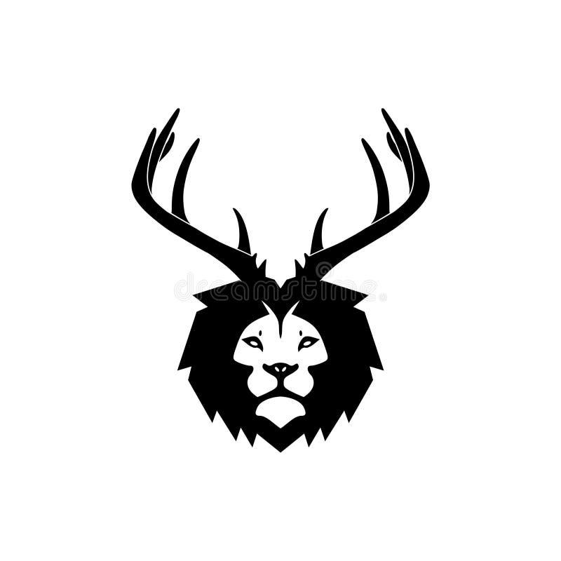 Lion Deer logo stock illustrationer