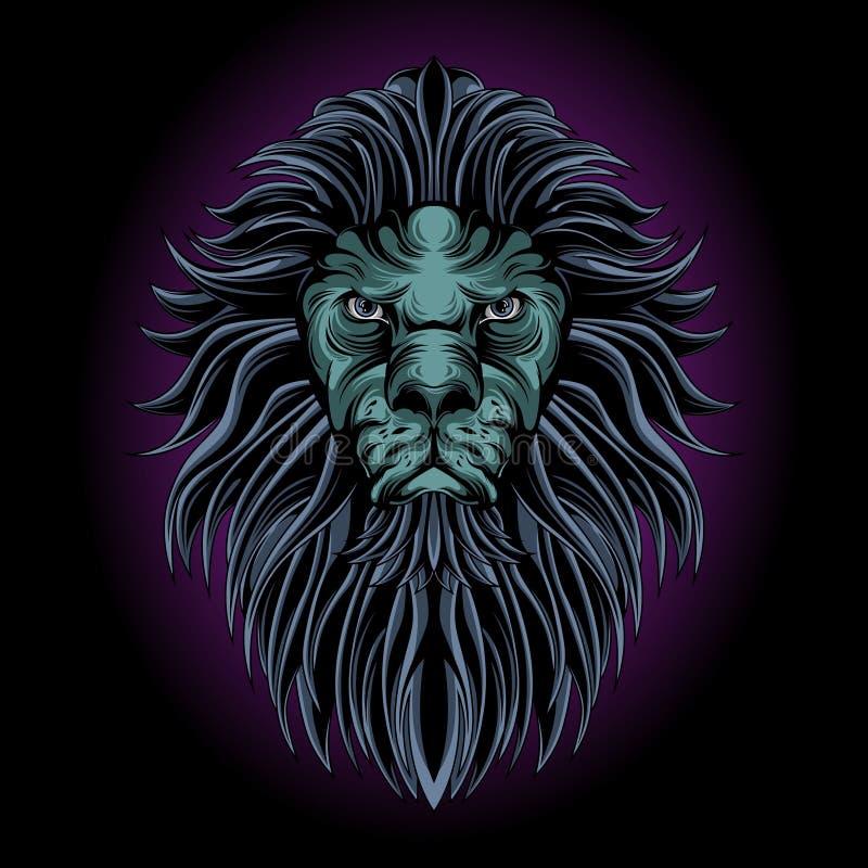 Mystical lion head royalty free illustration
