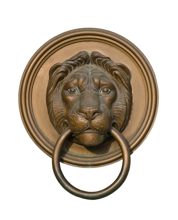 Lion door knocker isolated on white royalty free stock image