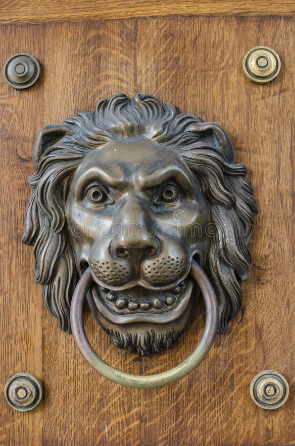The Muzzle Of Lion On Old Wooden Door Stock Image Image