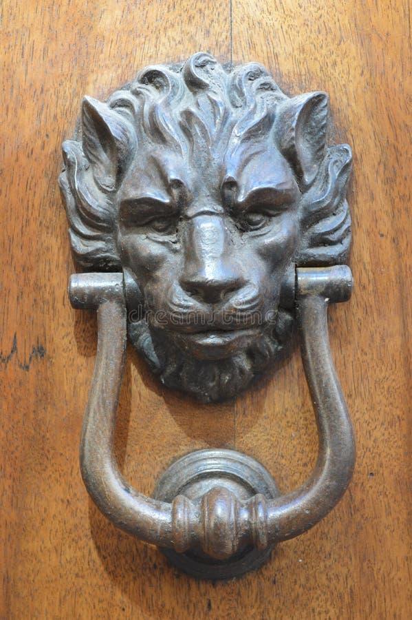 Lion door knocker in San Gimignano, in northwestern Italy royalty free stock photo
