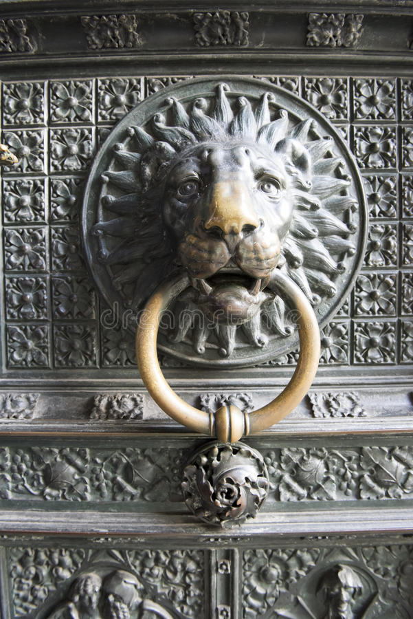 Lion door knocker Cathedral Cologne stock photography