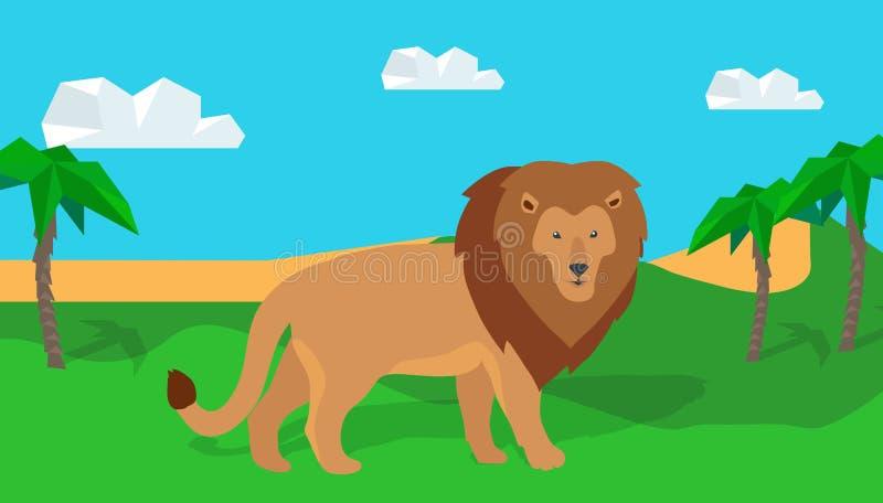 Lion drôle dans la savane illustration libre de droits