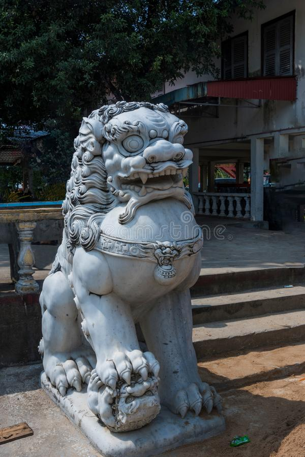 Lion dragon statue temple of wat kraom. Sihanoukville Cambodia royalty free stock images