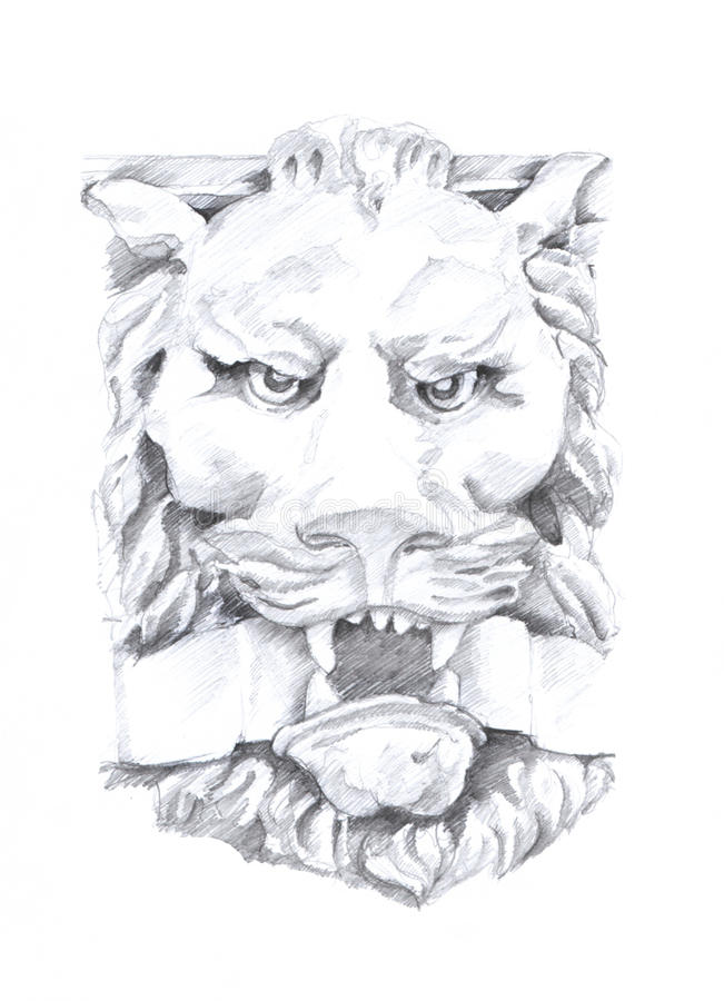 A lion drawing, sculpture sketch, original drawing on paper royalty free stock photography