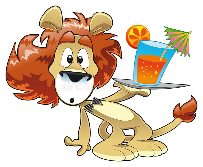 Lion with Drink stock photos