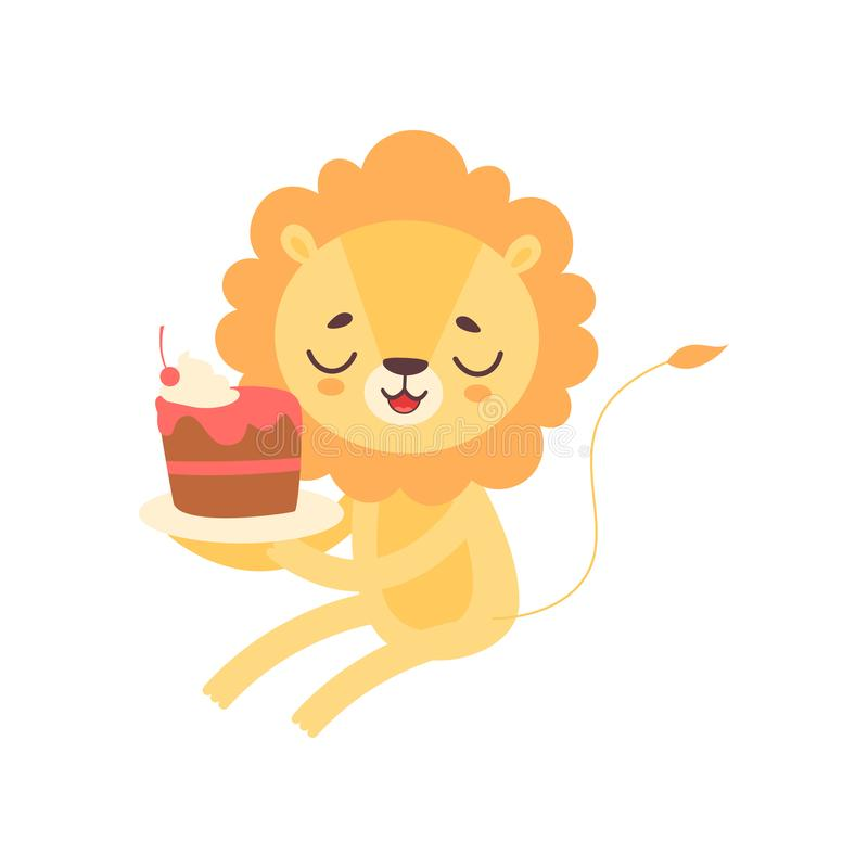 Lion Eating Cupcake mignon, illustration animale africaine drôle de vecteur de personnage de dessin animé illustration de vecteur