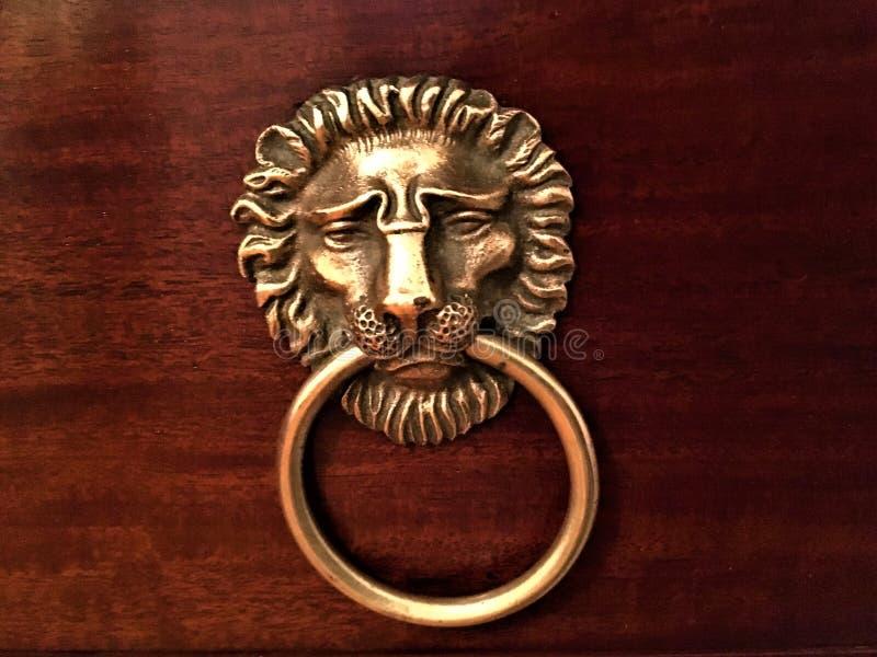 Lion en laiton, détail artistique photo stock