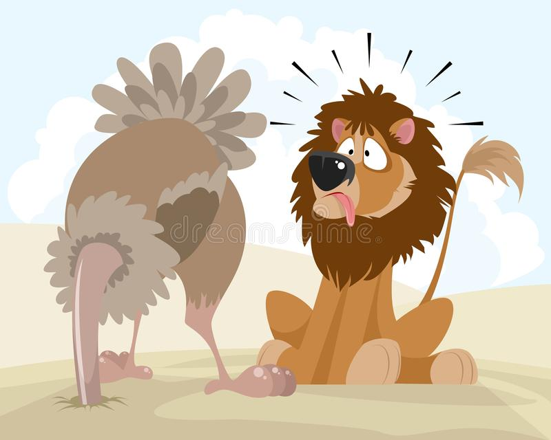 Lion et autruche illustration stock