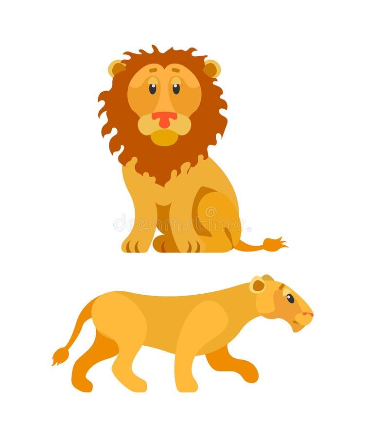 Lion et lionne, animal de faune, Leo Vector illustration libre de droits