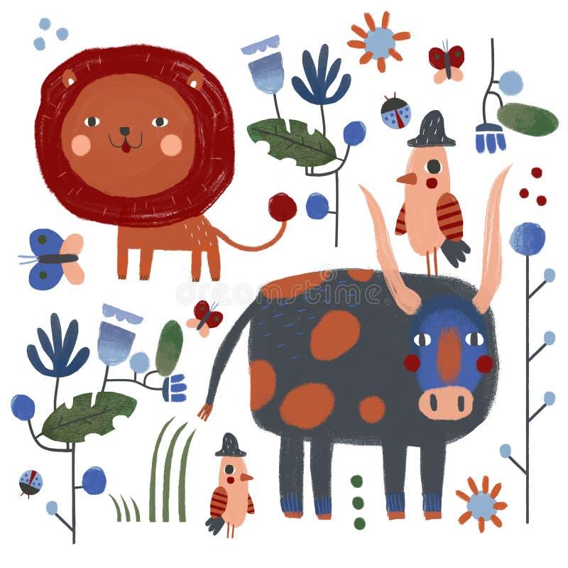 Lion et taureau et oiseaux illustration libre de droits