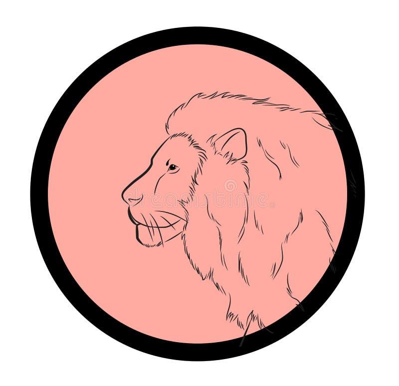 Lion Face Closeup Vector royalty illustrazione gratis