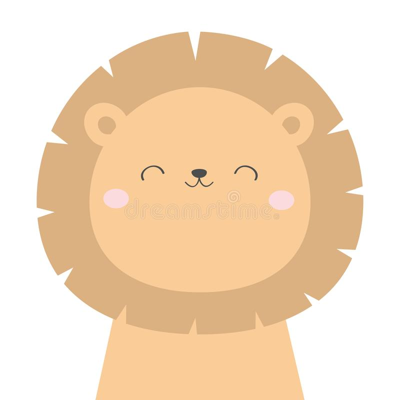 Lion face head icon. Kawaii animal. Cute cartoon character. Funny baby with eyes, nose, ears. Kids print. Love Greeting card. Flat. Design. White background royalty free illustration