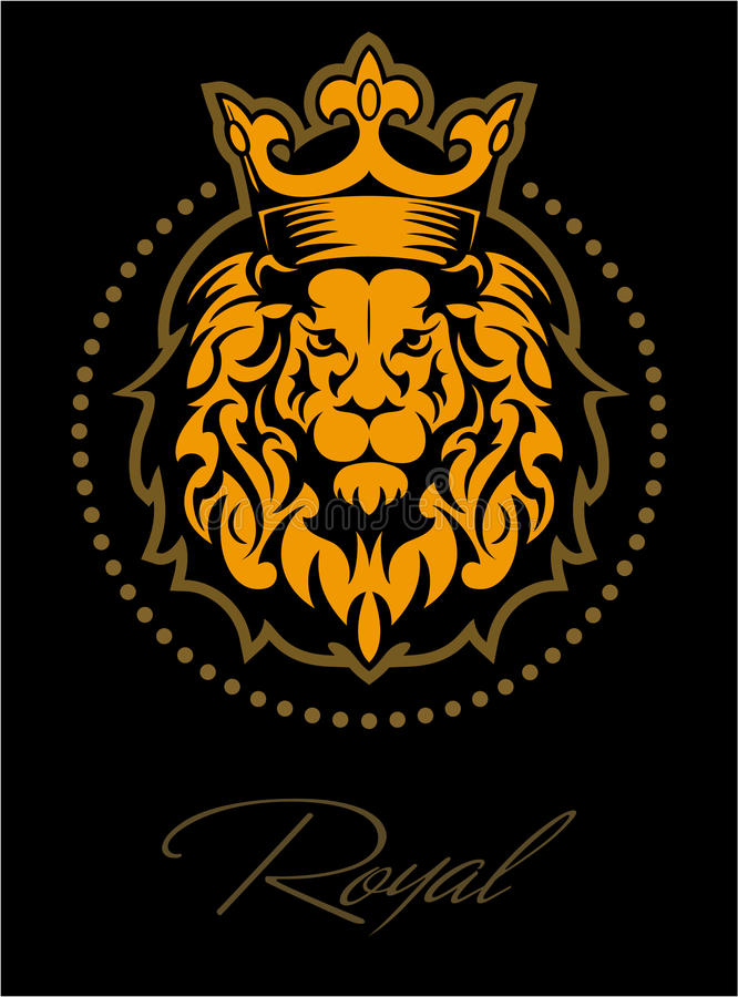 Download Lion Face Head With The Crown In Circle Logo Stock Illustration