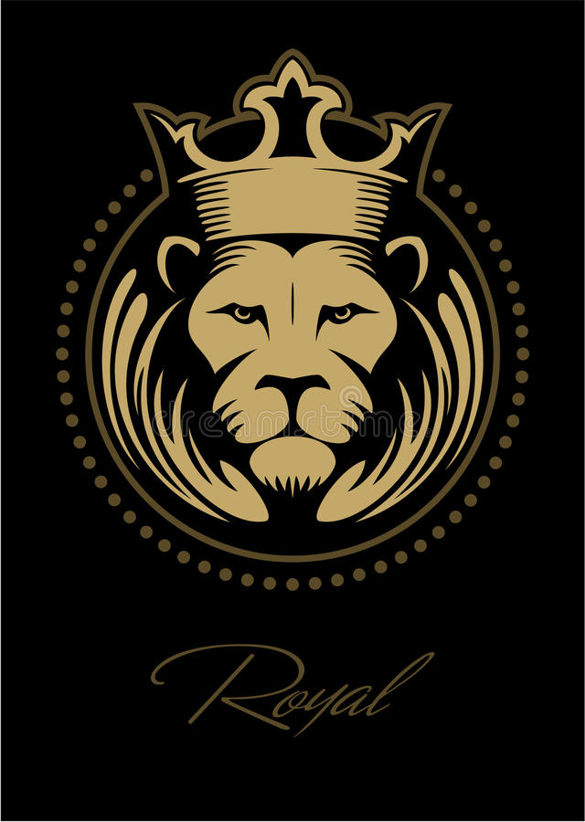 Download Lion Face Head With The Crown In Circle Vector Logo Stock