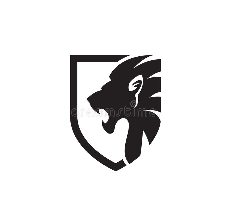 Lion Face in Shield stock image