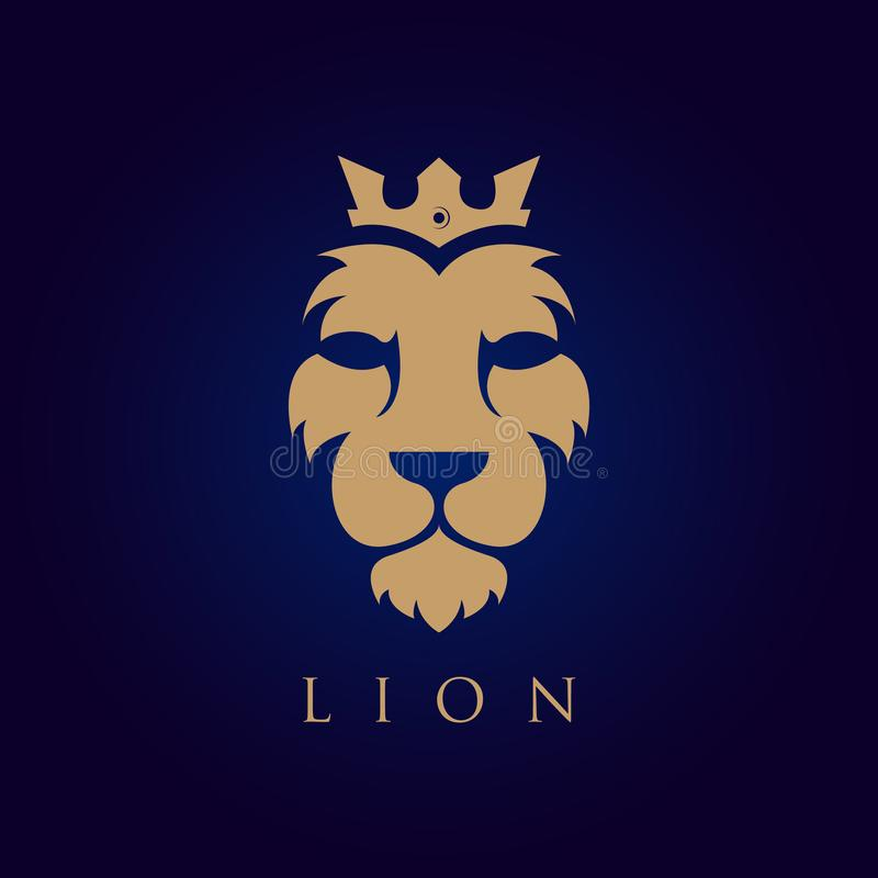 Lion face vector logotype. Heraldic premium logo icon sign. Universal company symbol stock illustration