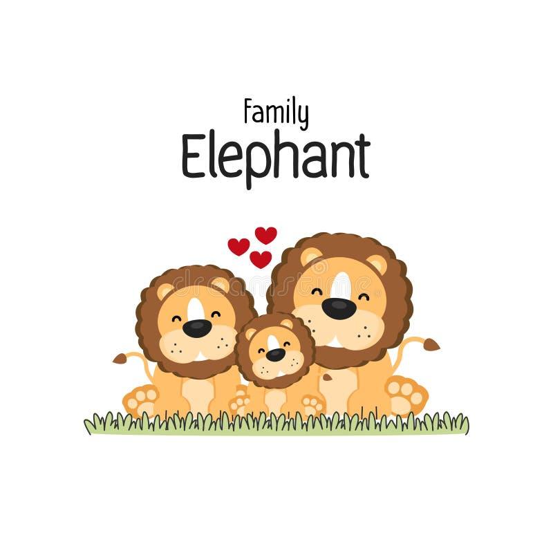 Lion Family Cartoon Mom Dad e bambino illustrazione vettoriale