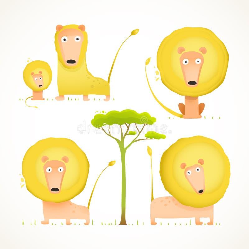 Lion Family Collection Cartoon Mom farsa och unge stock illustrationer