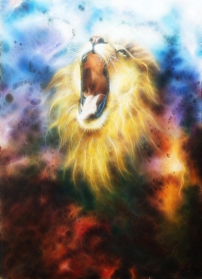 Lion Feactal in coolor space royalty free illustration