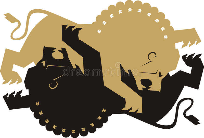 Lion fight. Vector illustration of lion on white background royalty free illustration